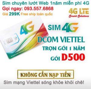 Sim Dcom 4G Viettel trọn gói 1 năm